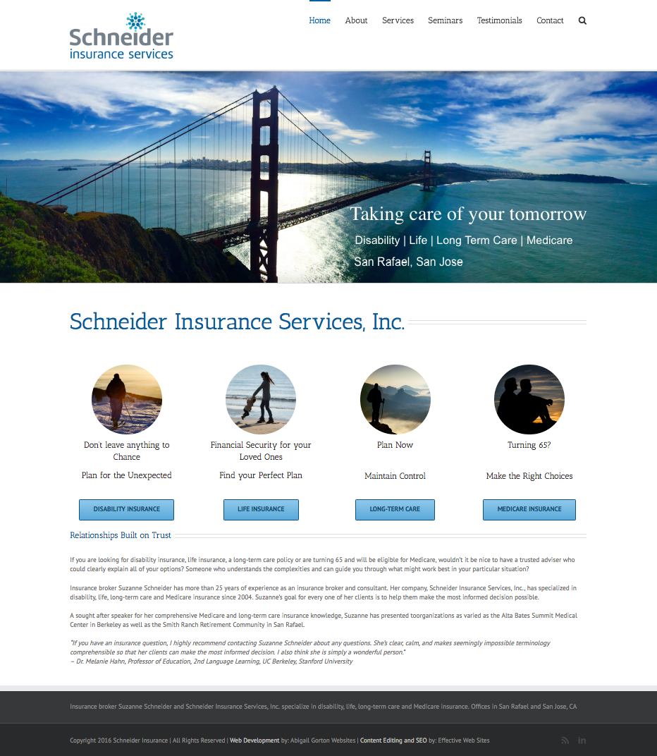 schneider Insurance website home page